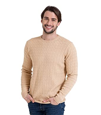 Woolovers Mens Cashmere And Cotton Cable Crew Neck Knitted Sweater