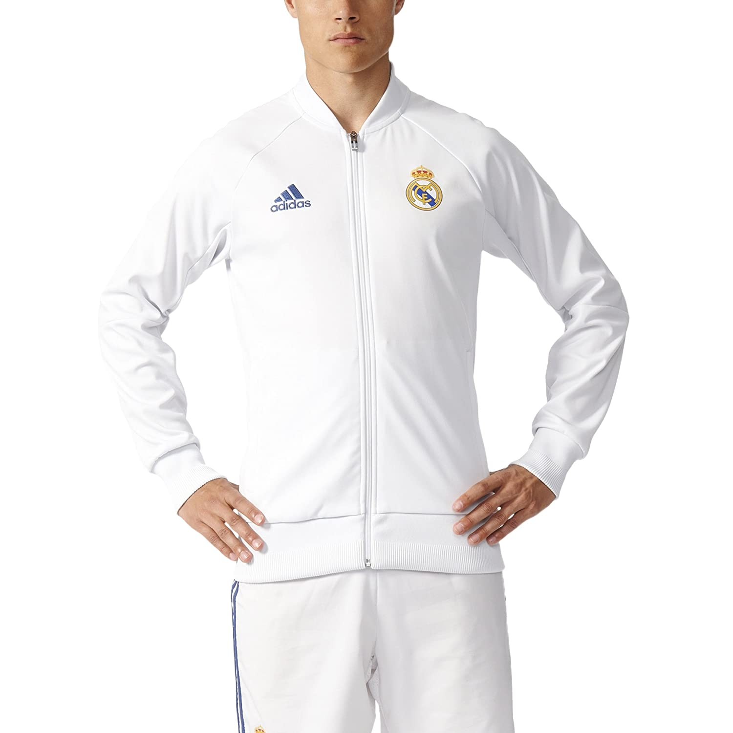 Adidas Men 's Real Madrid Anthem Track Jacket B01F1U8SMA XL|Crystal White/Raw Purple Crystal White/Raw Purple XL