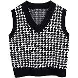 Jlihang Oversized Houndstooth Knitted Vest Sweater Vintage V Neck Loose Sleeveless Sweater
