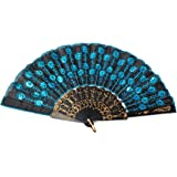 (Blue) - Embroidered Flower Pattern Black Cloth Folding Hand Fan