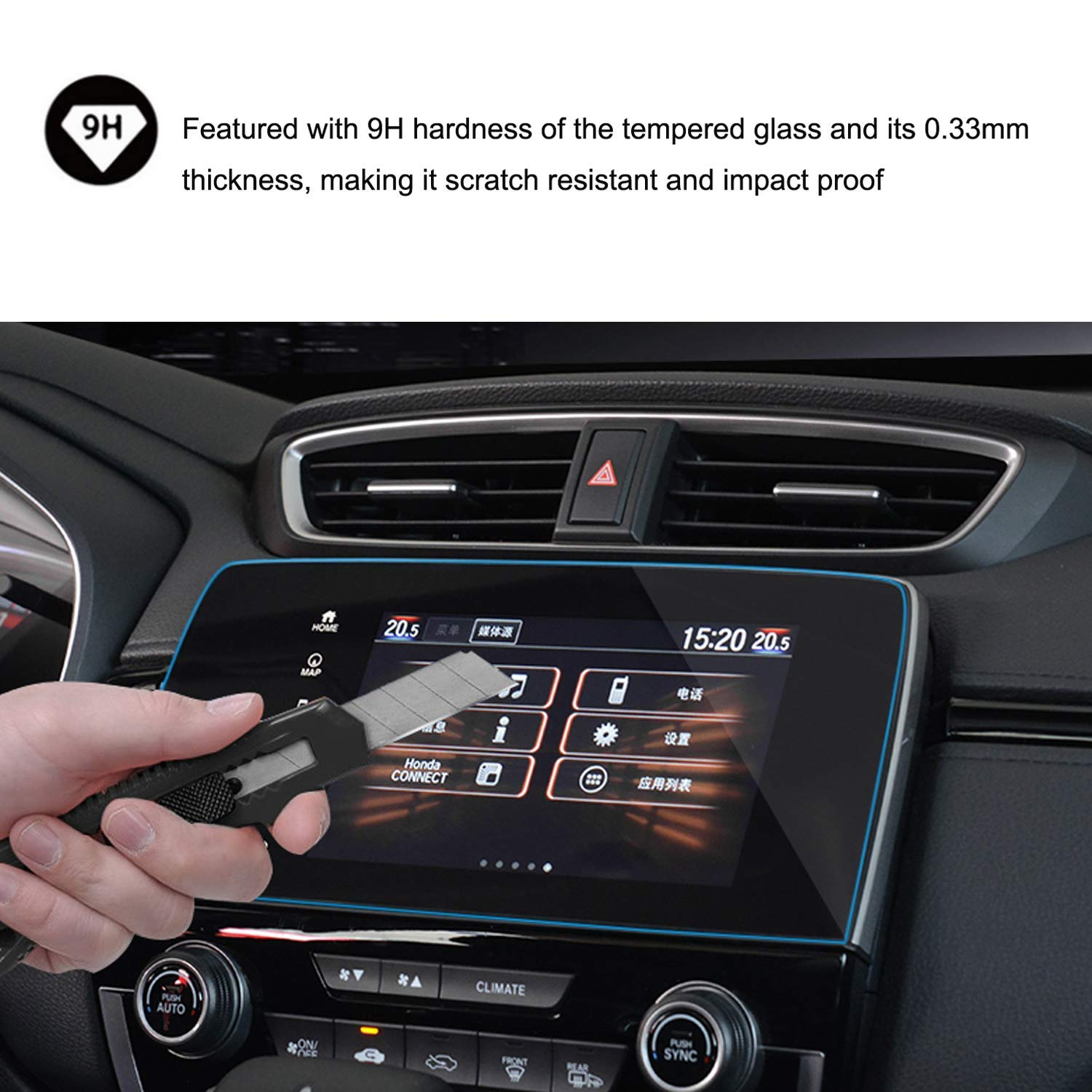 2017 2018 2019 Honda CRV EX EX-L Touring 7 Inch Car Navigation Screen Protector HiMoliwa Scratch-Resistant Ultra HD in-Dash Clear Tempered Glass Screen 9H Hardness 0.33mm