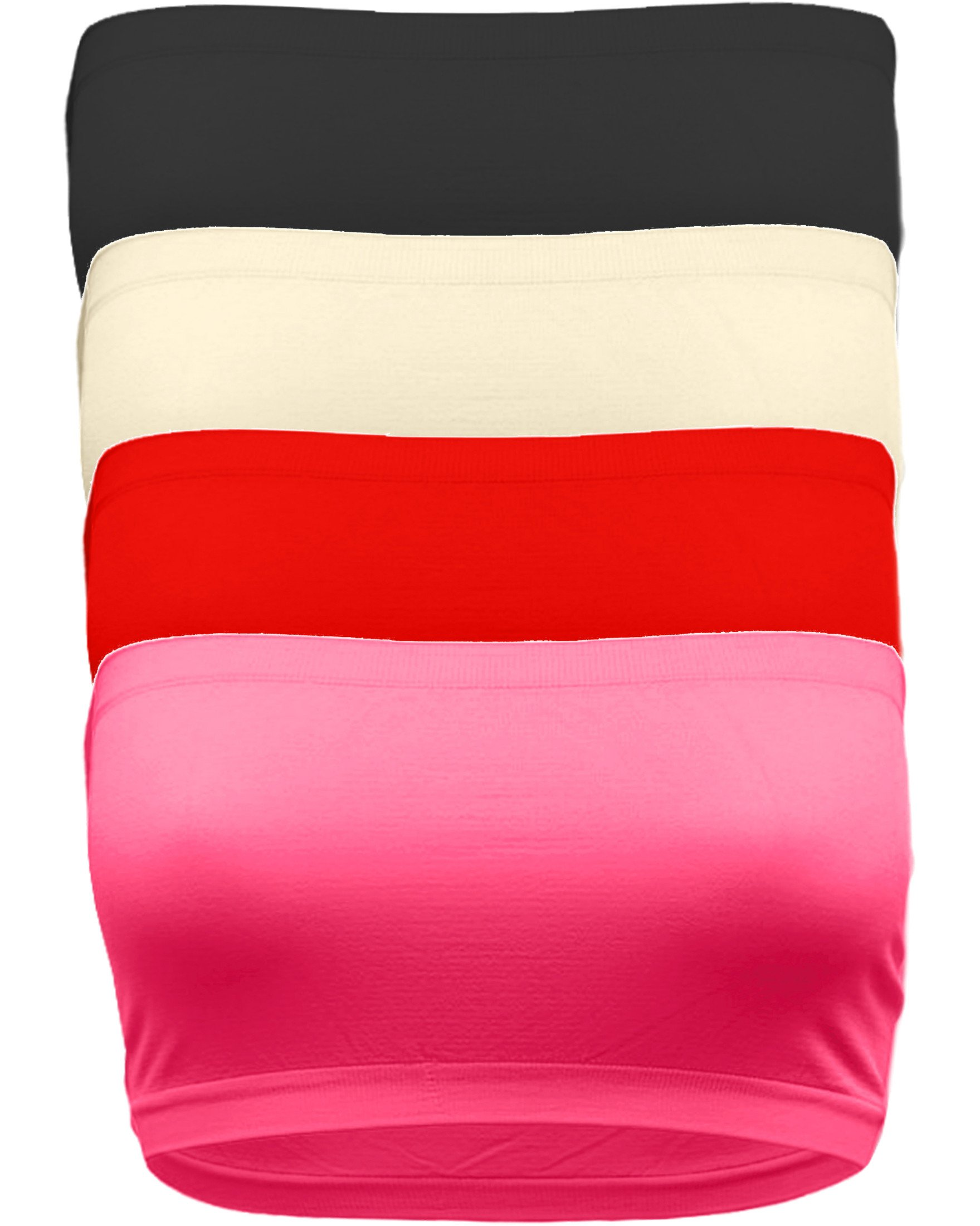 OLLIE ARNES Women's One Size Strapless Seamless Stretch Bandeau Tube Bra Top BK_TPE_RED_NPNK by OLLIE ARNES