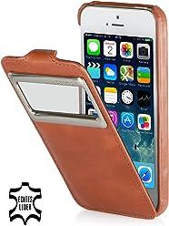 StilGut, UltraSlim, pochette exclusive en cuir véritable avec clapet et petit hublot (iOS 7) pour l'iPhone 5 & 5s d'Apple, cognac