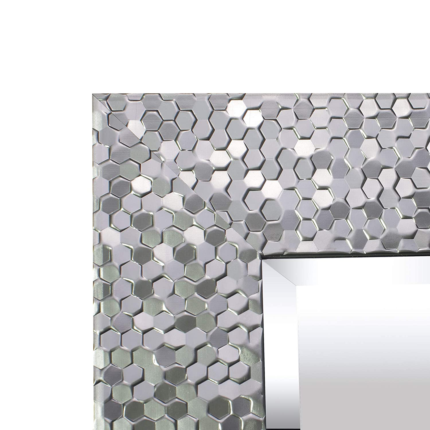 MIRROR TREND 24 x 32 Inches Silver Beveled Mirrors for Wall Mirrors for Living Room Large Bathroom Mirrors Wall Mounted Mosaic Design Mirror for Wall Decorative Silver