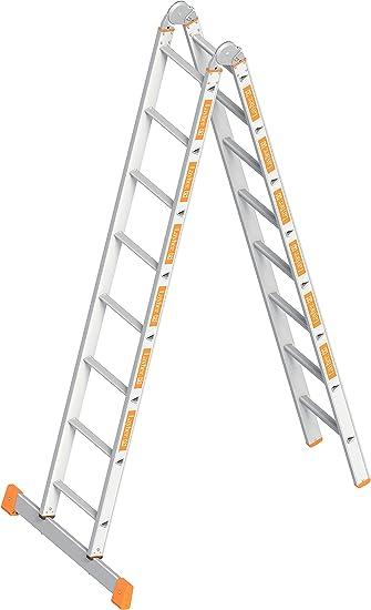 Layher TOPIC, 1056016 – Escalera plegable de aluminio (2 x 8 peldaños, plegable, ambos lados, longitud 4.71 M: Amazon.es: Bricolaje y herramientas