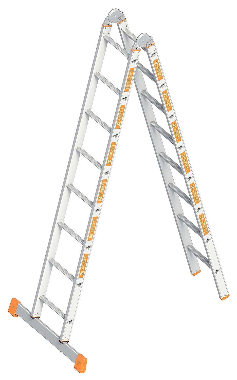 klappbar Layher Klappleiter TOPIC 8 Sprossen; Aluminiumleiter 2x8 Sprossen