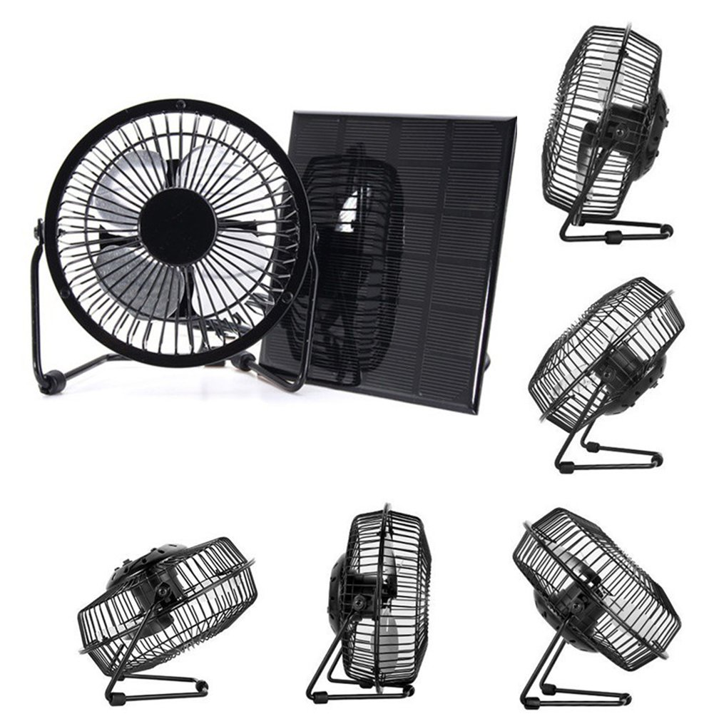 Mini Solar Panel Cooling Fan Black 3W 6V 4-inch Cooling Ventilation for Greenhouse Home Office Outdoor Traveling Fishing Dog House Ventilator