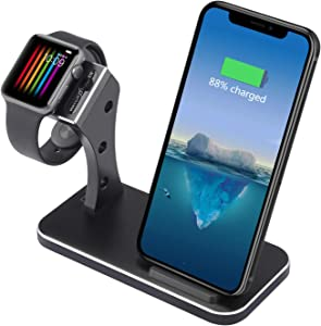 Xderlin 2 in 1 Aluminum Phone Wireless Charger and Watch Stand for iWatch Series 4/3/2/1