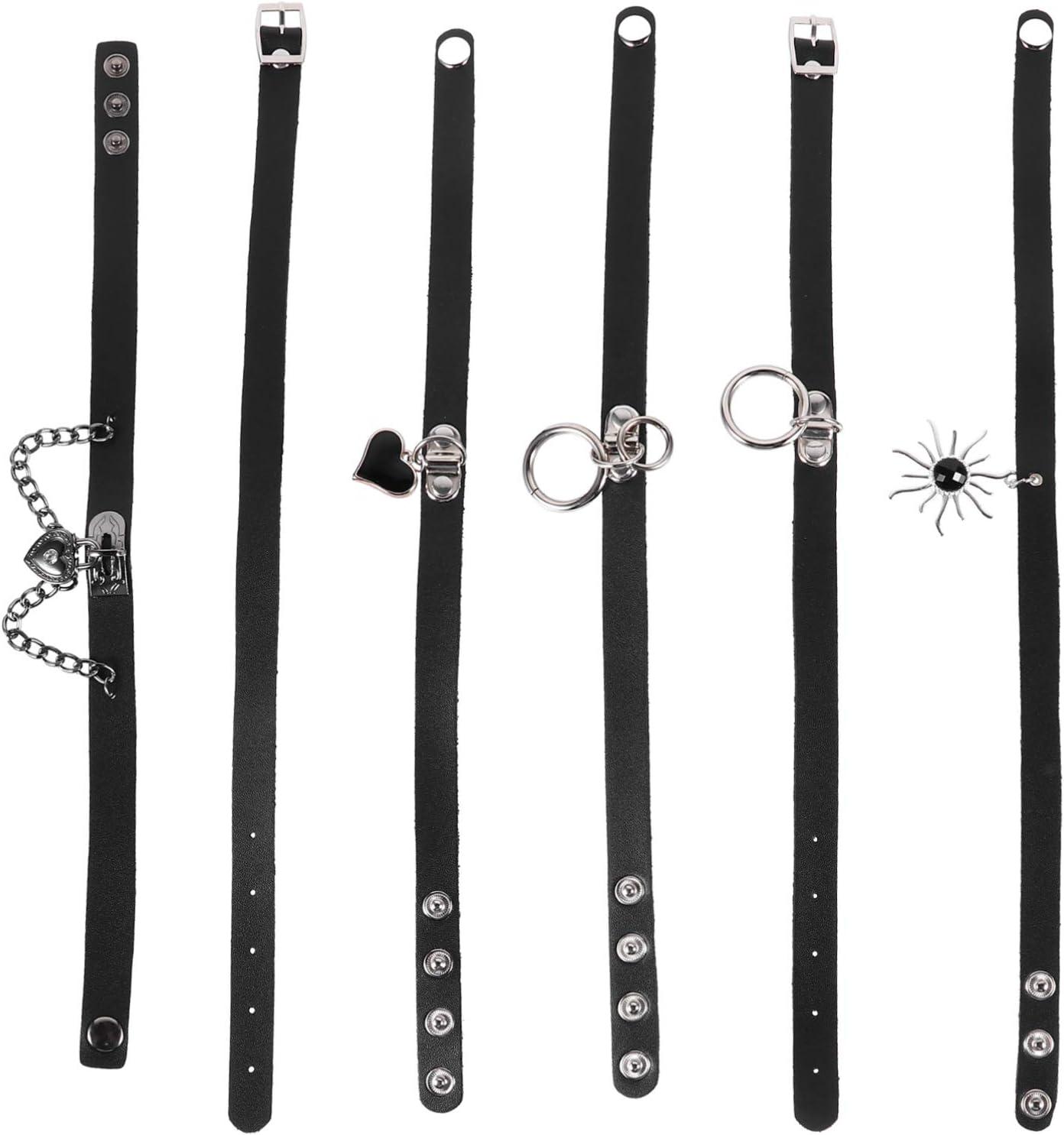 EXCEART 6 Piezas Cuero Chocker Collar PU Círculo Punk Gargantilla Collar Cadena Cinch Collar Ajustable Gargantilla Coscapa para Mujer