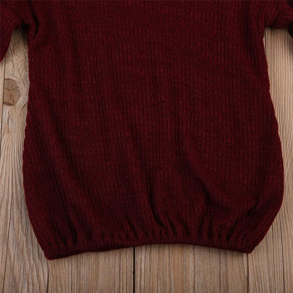 Baby Girls Loose Long Bell Sleeve Knit Sweater Ruffle Warm Pullover Tops Outfits