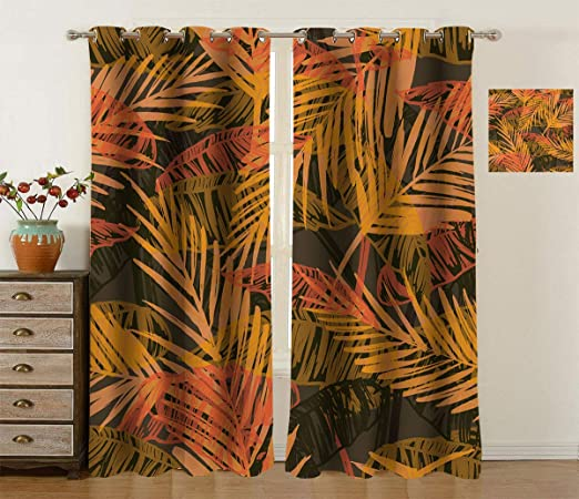 Amazon Com Fabuyale Tropical Decor Bedroom Window Treatments Exotic Pattern With Palm Leaves Vintage Home Design Art Work Noise Reducing Curtain For Bedroom 2pcs Each 42 Wx84 L Home Kitchen