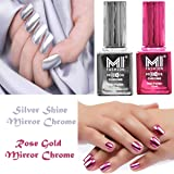 MI FASHION Mirror Chrome Nail Polish Combo (Rose Gold and Silver Shine) (12 ml Each) Set of 2