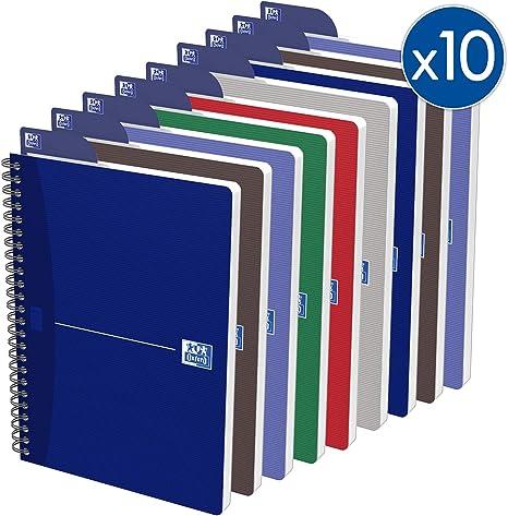Oxford Essentials - Lote de 10 cuadernos de espiral (A5 14,8 x 21 ...