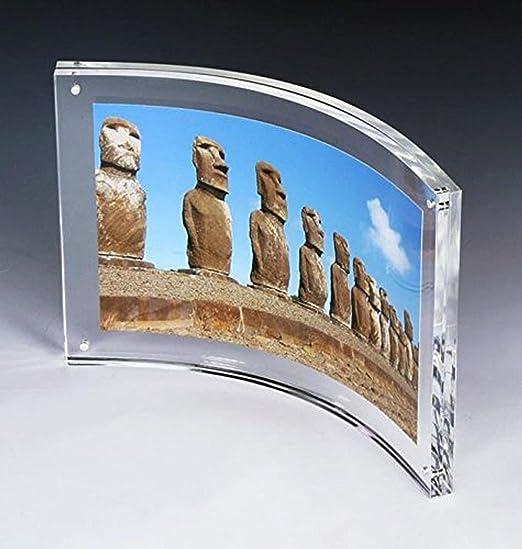 Pmma personalizado foto portaretratos acrilico curvo montado en la pared marco de fotos,transparente, 10.2x15.2cm: Amazon.es: Hogar