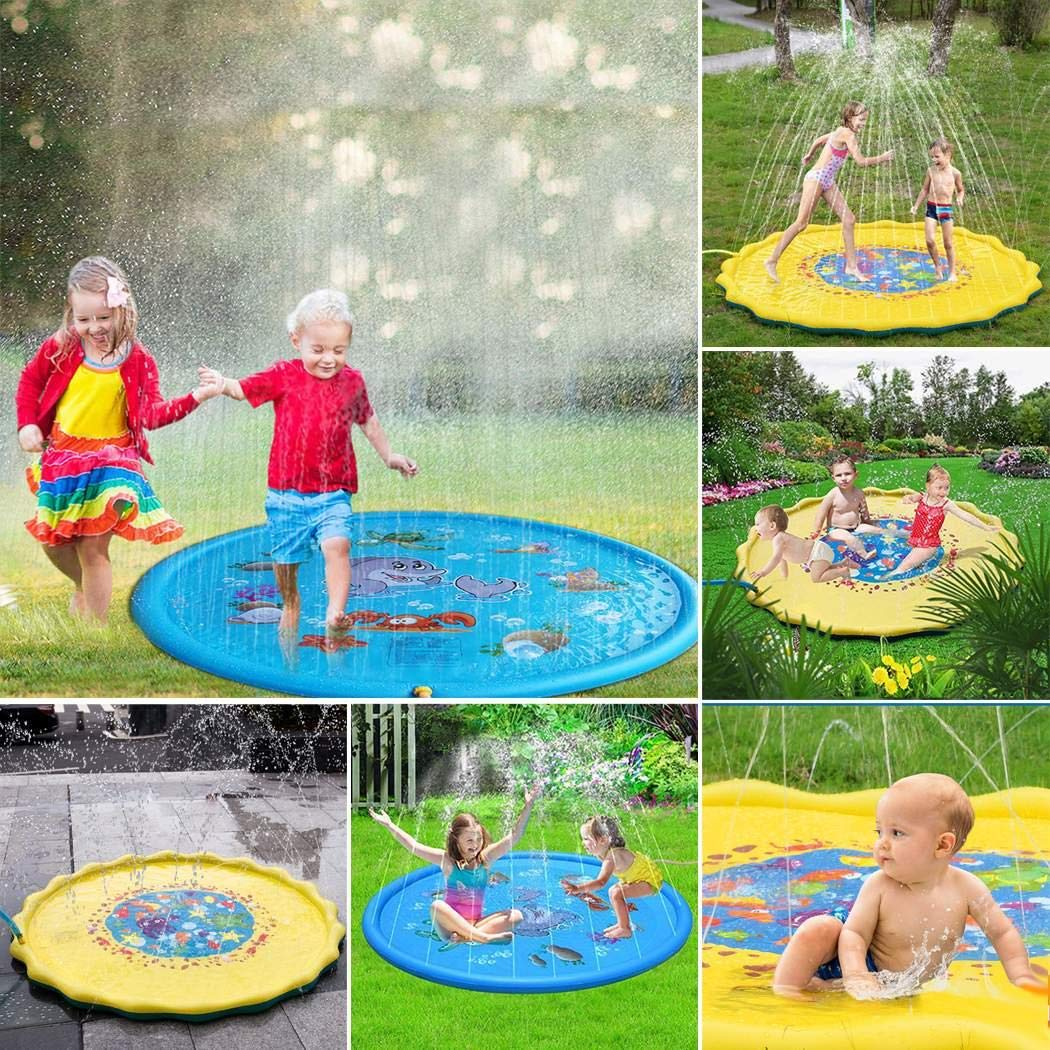 rungoi 170cm Kids Sprinkle and Splash Play Mat Pad Toy Inflatable Outdoor Sprinkler Pad Water Pad Toys for Children Infants Toddlers Boys Girls by rungoi (Image #5)