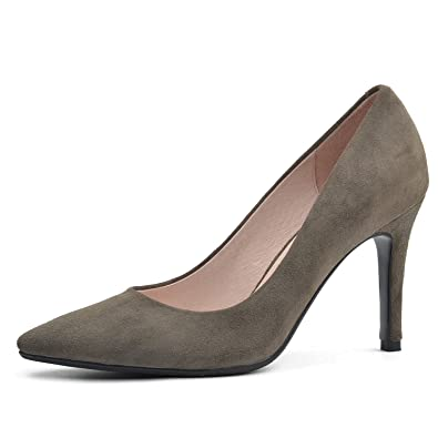 f499e700236 DONNAIN Suede High Heel Pumps for Women Sexy, Genuine Leather Plus Size  Pointed Toe Dress Pumps Shoes