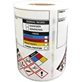 SDS/OSHA Stickers for Chemical Safty Data 3 X 4 Inches - MSDS/HMIG Labels Write-in - Hazard Secondary Container Labels Chemic