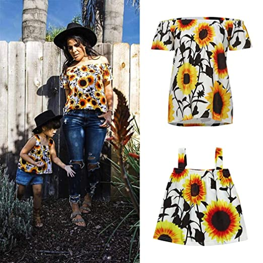 1e014e2d Appoi Mom Baby Matching Outfits,Mom&Me Women Baby Little Girl Flower Tops  T-Shirt Off Shoulder Summer Dress Family Outfits