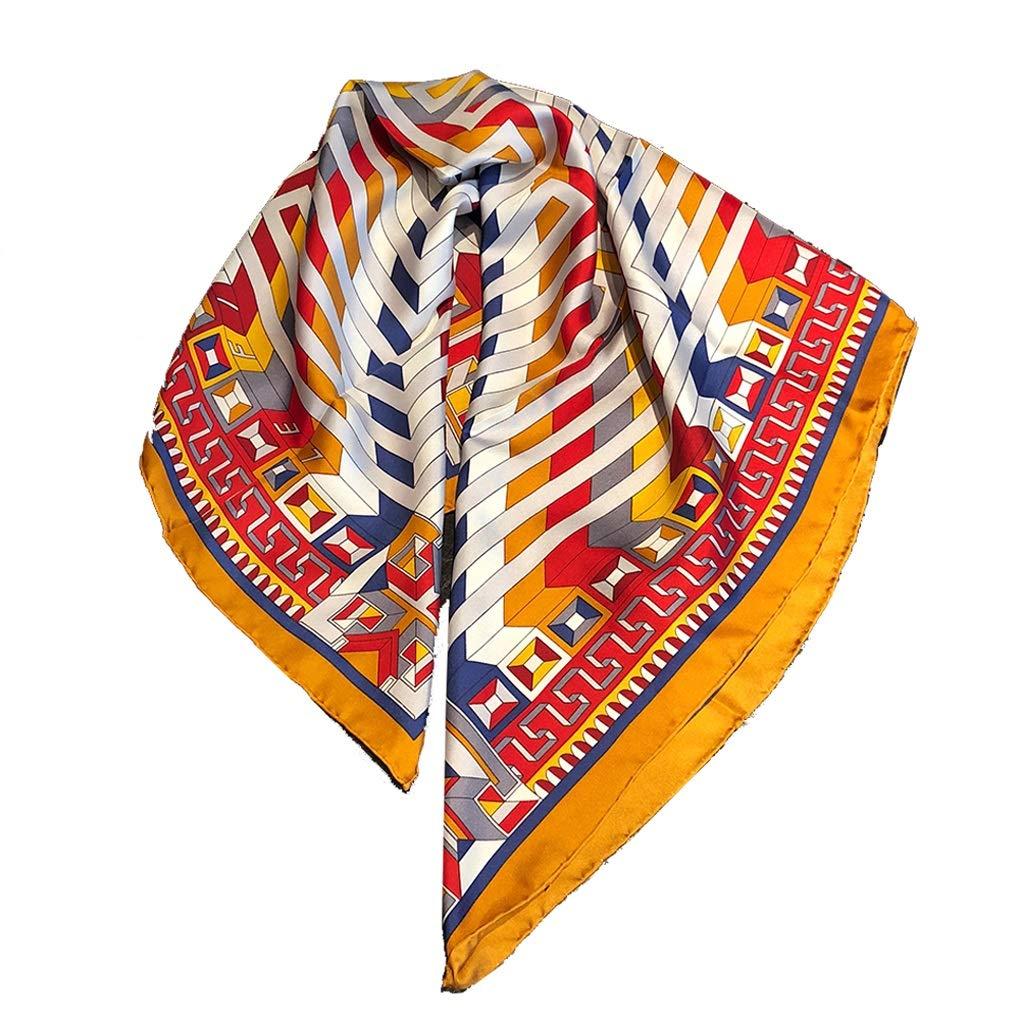 Yellow Twill Silk Scarf Modern Minimalist Style 90cm Geblackus Scarf Decorative Small Scarf Fashion Bag Strap