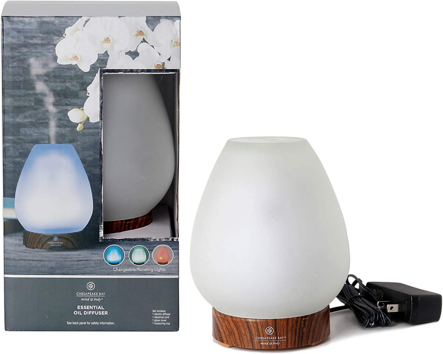 Chesapeake Bay Candle PTC40930 Aromatherapy Essential Oil Diffuser, Wood Grain Base with Waterless Auto Shut-Off Rotating LED Color Lights, White Frosted Glass Cover, 100ml