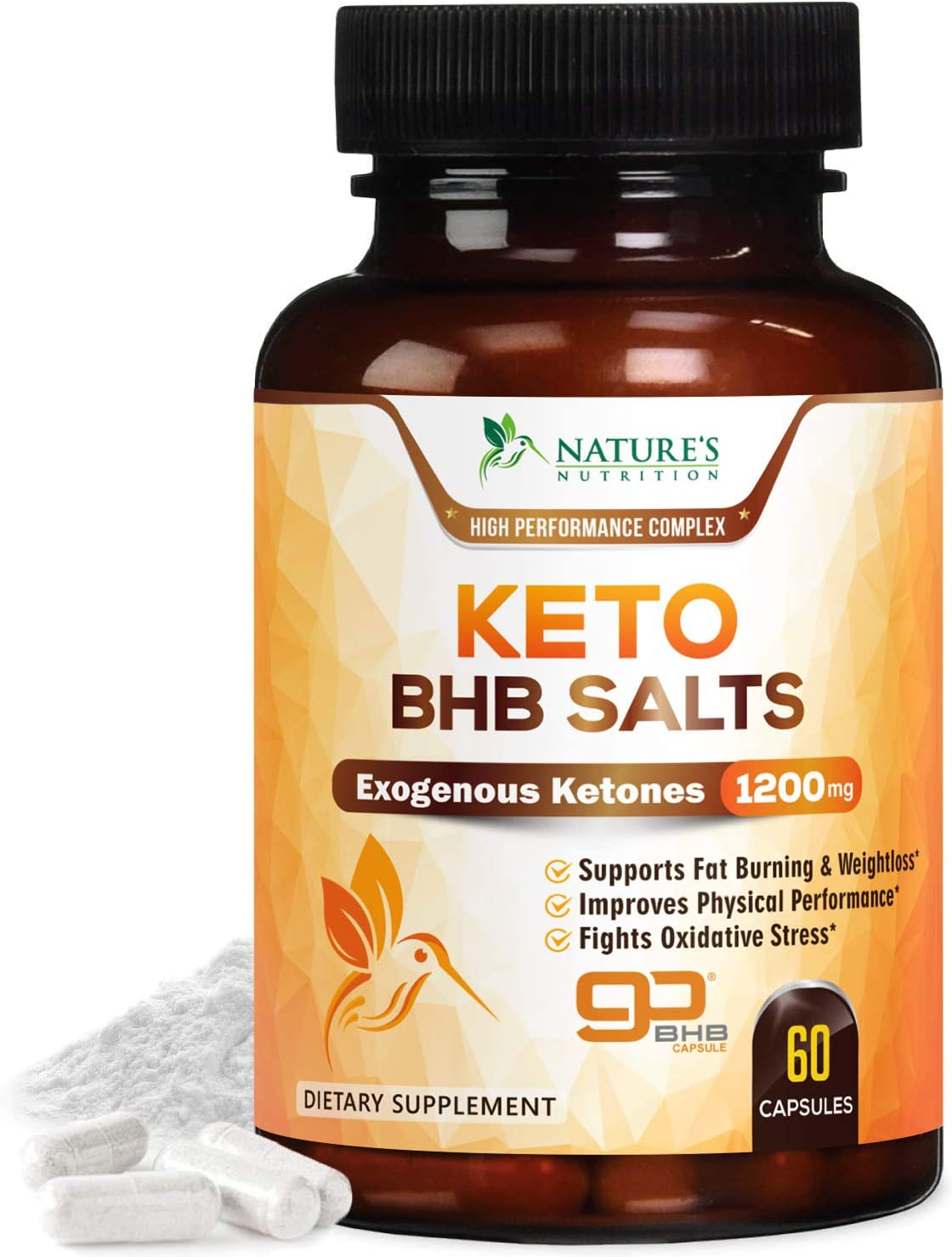 Keto BHB Pills Premium Exogenous Ketones Salts 1200mg – Utilize Your Body s Natural Energy with Ketosis – Made in USA – Ketone Weight Support Supplement with Hydroxybutyrate for Men and – 60 Capsules