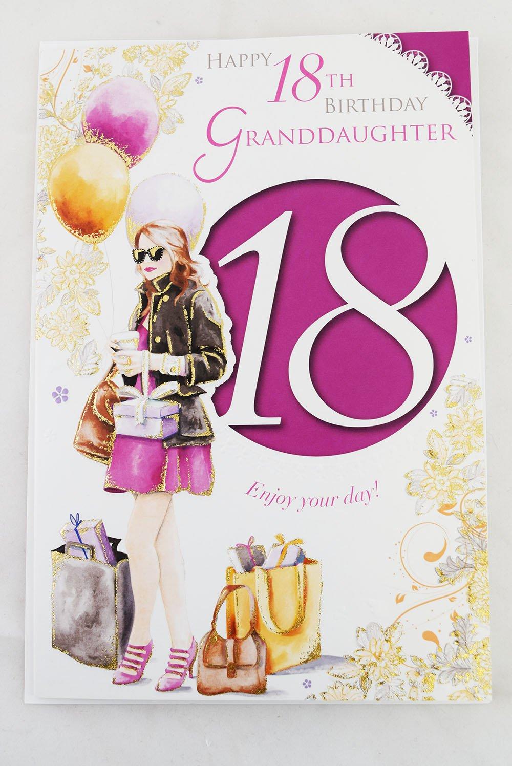 Feliz 18th cumpleaños nieta rosa niñas edad 18 versículo ...