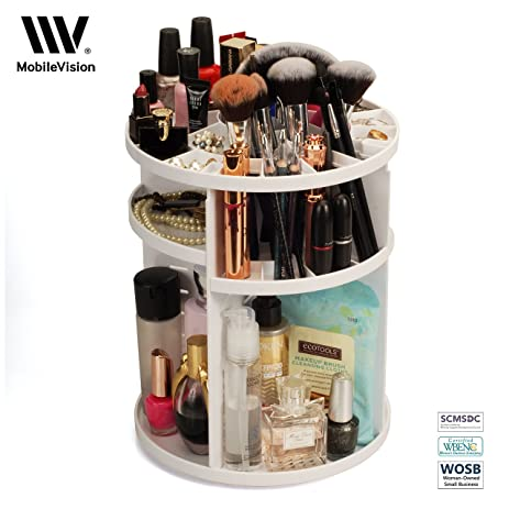 Makeup Organizer Rotating Tabletop Cosmetic U0026 Toiletry Holder Adjustable  Shelving For Brushes, Lotions, Perfumes