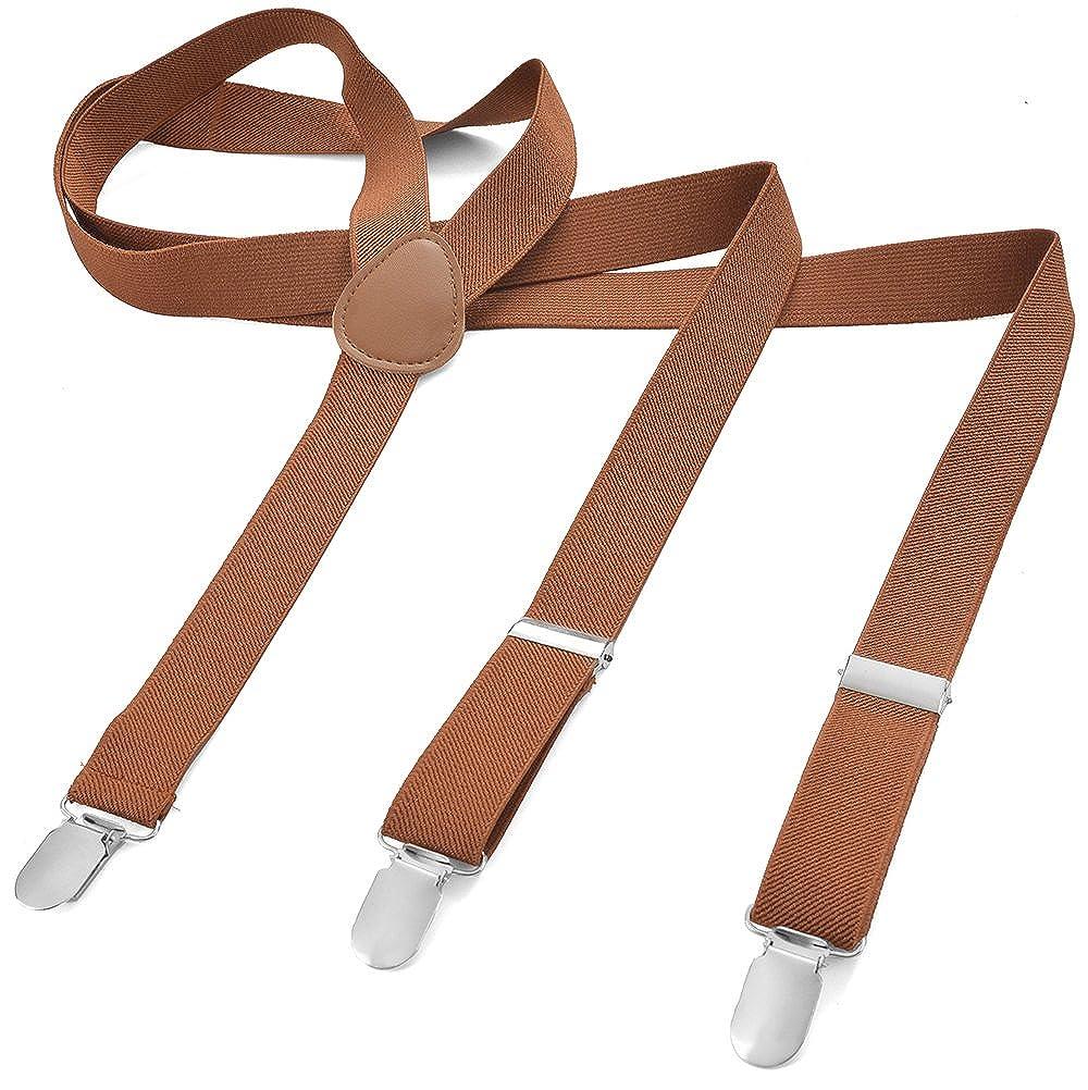 Long Size - Braces/Suspenders for Unisex - Y Shape Style - 3 Clips - Elastic Slim - Pure Color