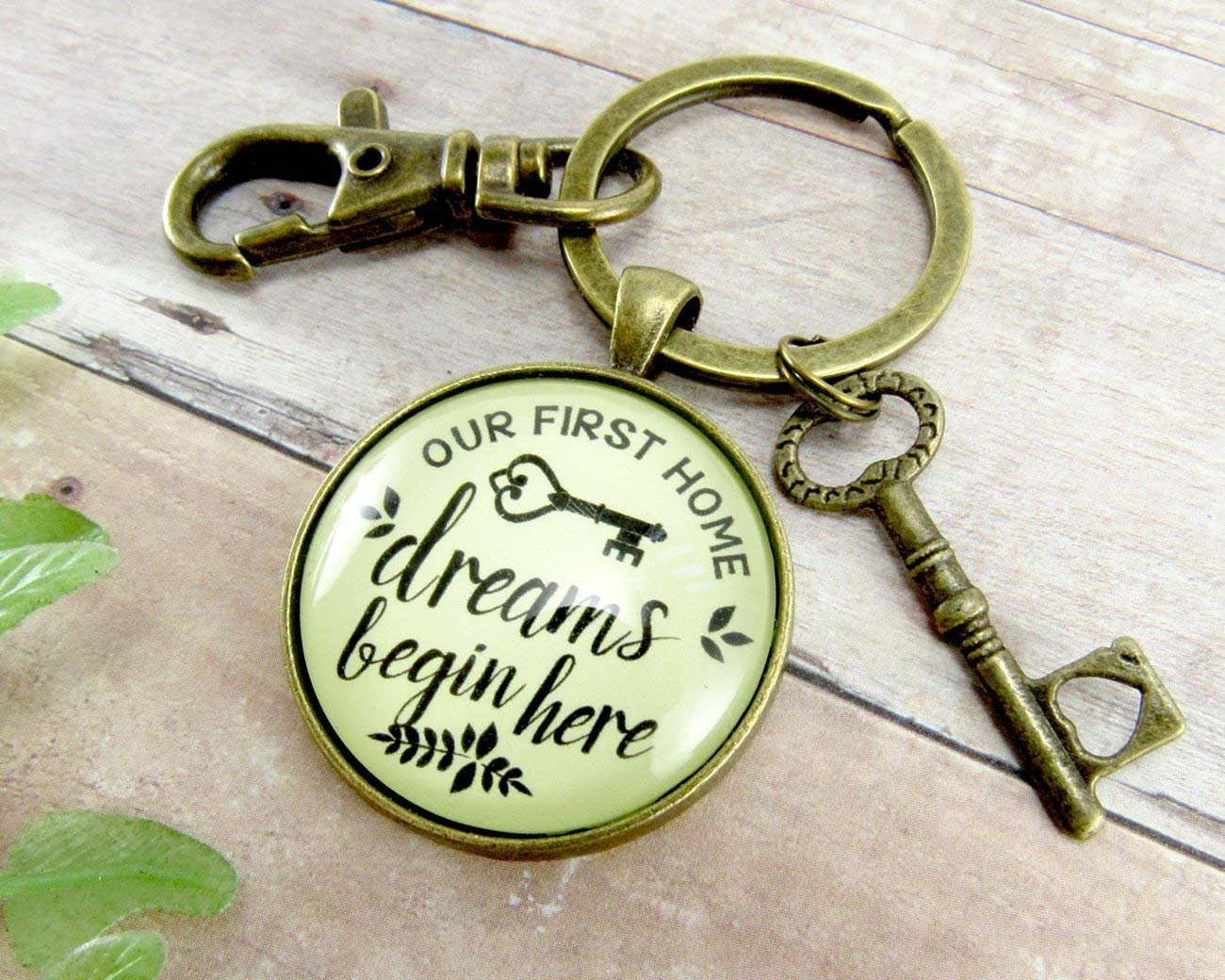 My First Home Keychain Dreams Begin Here Homeowner Home Buyers Gift Vintage Hipster Style Glass Pendant Key Charm