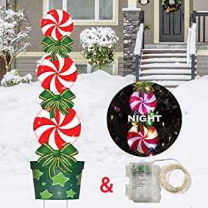 Outdoor Christmas Decorations -47In Candy Xmas Yard Stakes Signs with String Lights- New Year Giant Holiday Grinch Christmas Decor for Home Lawn Pathway Walkway Candyland Party