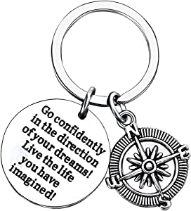 lauhonmin Compass Key Chain Go Confidently in The Direction of Your Dreams Live The Life You Have Imagined (Compass)