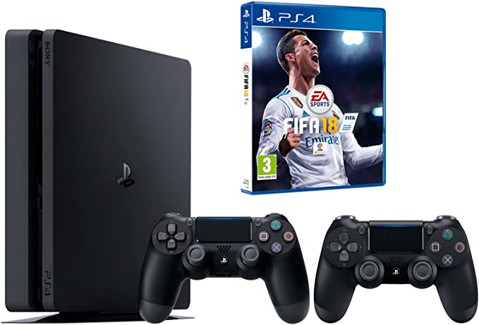 PS4 Slim 1Tb Negra Playstation 4 Consola - FIFA 18 + 2 Mandos Dualshock 4: Amazon.es: Videojuegos