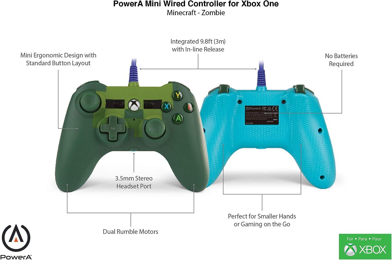 PowerA - Mando mini con cable Minecraft Zombie (Xbox One): Amazon.es: Videojuegos