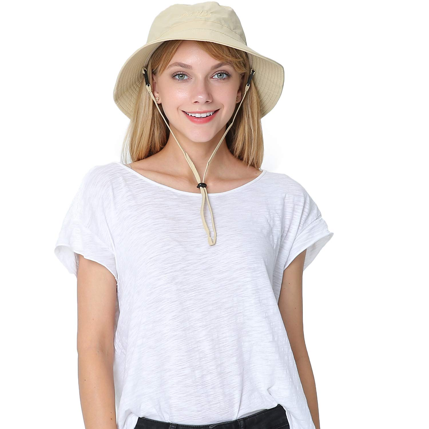 Puli Women's Packable Fisherman Bucket Hat Outdoor Hat with Chin Strap Sun Protective, Khaki