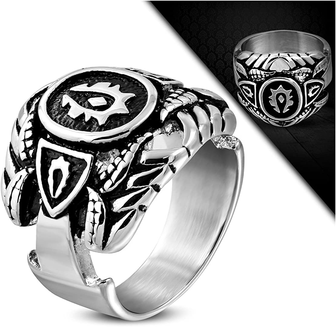 Stainless Steel 2-Tone Horseshoe Shield Eagle Claw Tribal Biker Ring