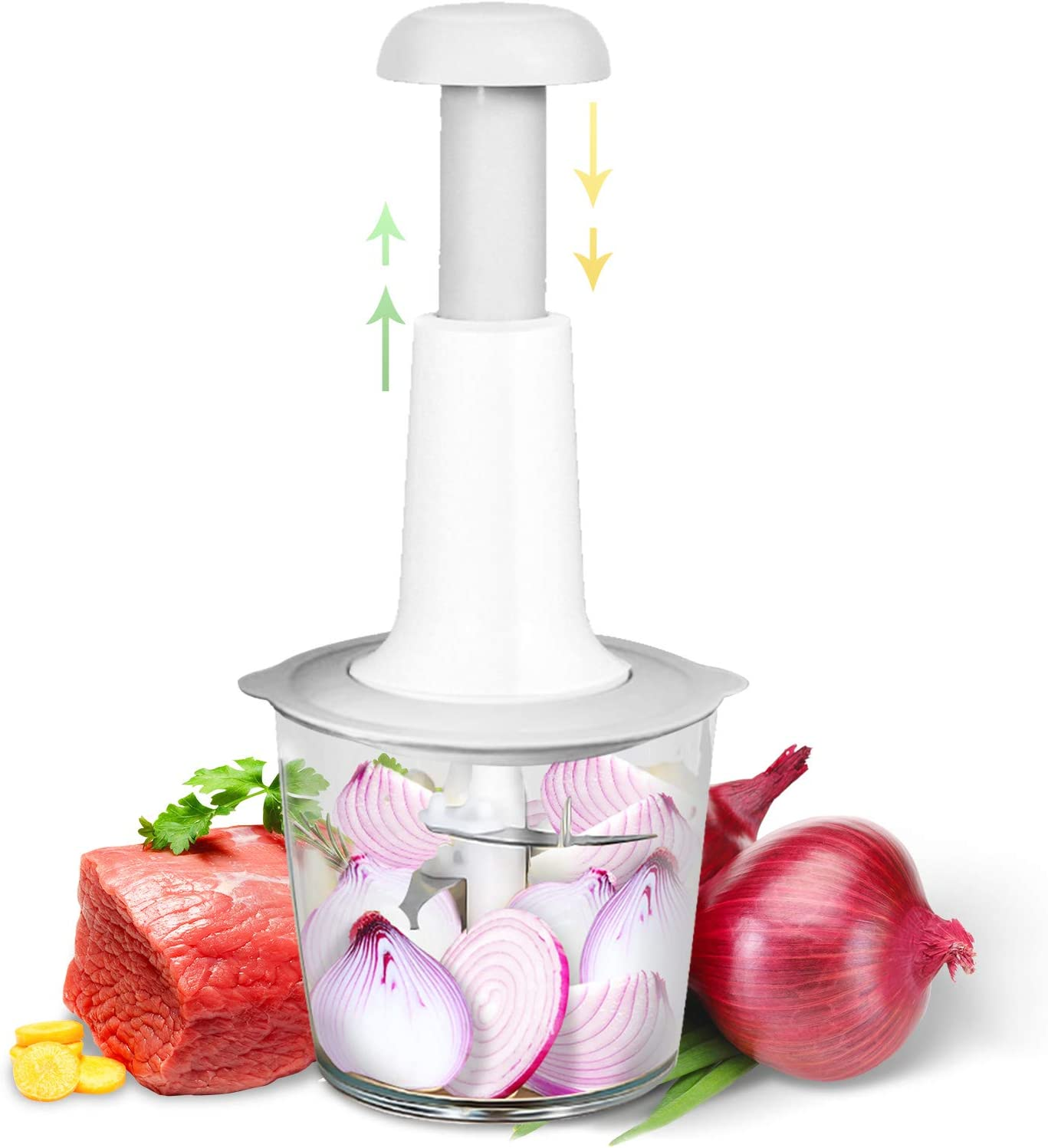 DVE Manual Food Chopper Mincer Processor Portable Food Processor for Vegetables, Garlic, Onion and Meat,Commercial Quality With Easy-Clean Design