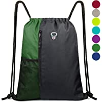 Drawstring Backpack Sports Gym Bag for Women Men Children Large Size with  Zipper and Water Bottle a60bb7db2fd00