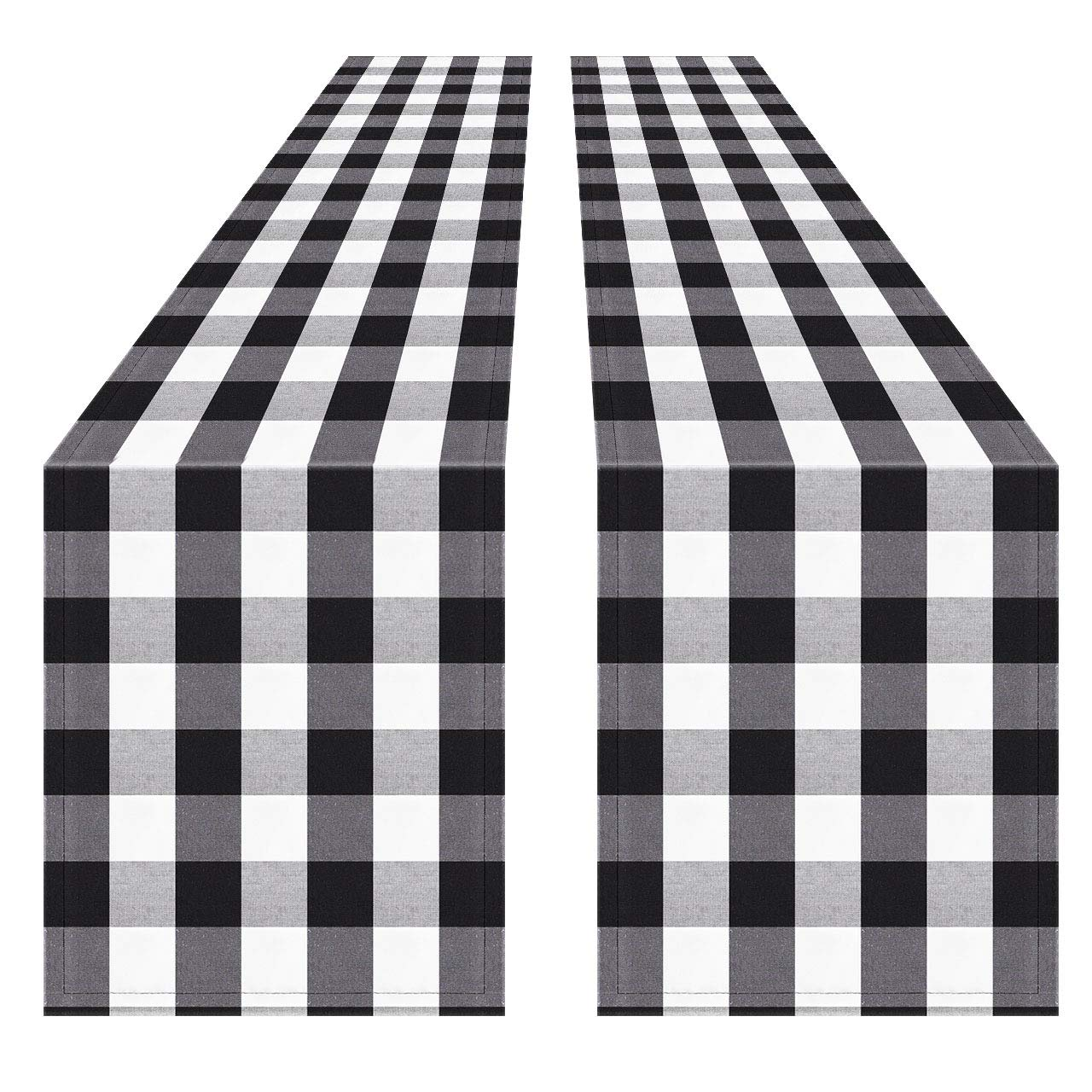 Syntus 2 Pack 14 x 108 inch Buffalo Check Table Runner Cotton-Polyester Blend Handmade Black and White Plaid for Family Dinner, Outdoor or Indoor Parties, Thanksgiving, Christmas & Gathering by Syntus