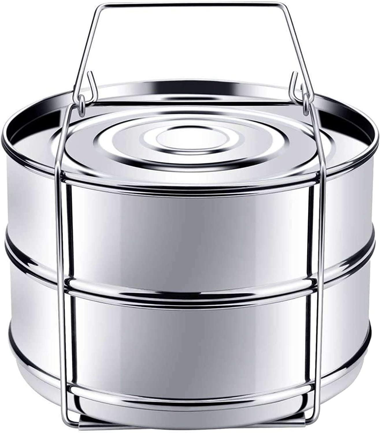 Stackable Stainless Steel Pressure Cooker Steamer Cooking Insert Pans with Sling, Steamer Insert Pans For Instant Pot Stackable Insert Pans, Stackable Steamer Insert Pans Interchangeable Lids