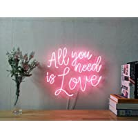 All You Need Is Love Real Glass Neon Sign For Bedroom Garage Bar Man Cave Room Home Decor Personalised Handmade Artwork Visual Art Dimmable Wall Lighting Includes Dimmer