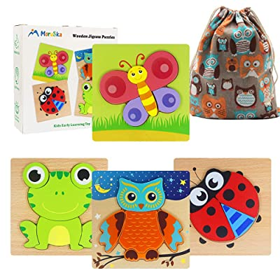 Moruska Wooden Jigsaw Puzzles for Toddlers 1 2 3 Year Old Kids Animal Pattern Shape Puzzles Fine Motor Skill Montessori Toy for Babies Boys and Girls: Toys & Games