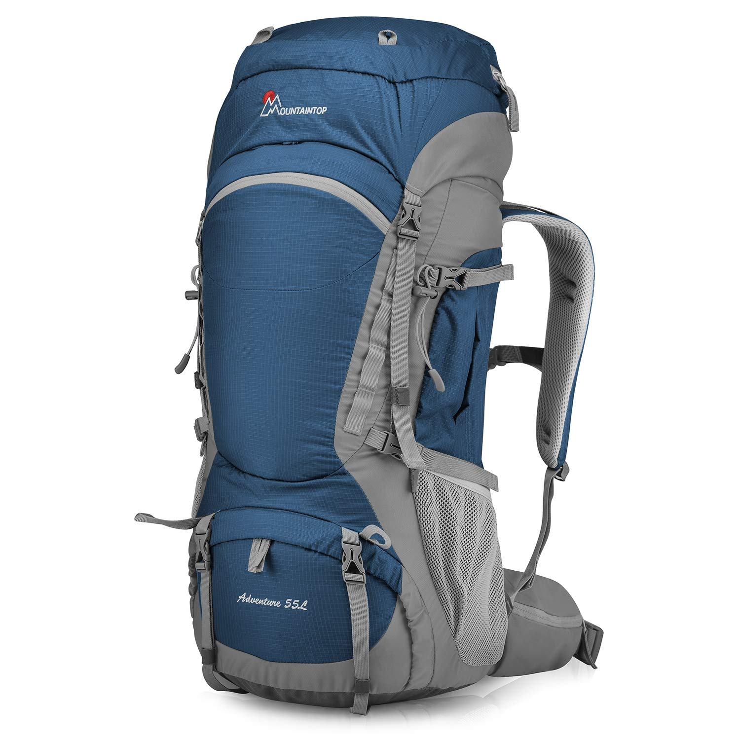 Mountaintop 55L/75L/80L Hiking Backpack with Rain Cover (type2-55L-Sapphire Blue) by MOUNTAINTOP