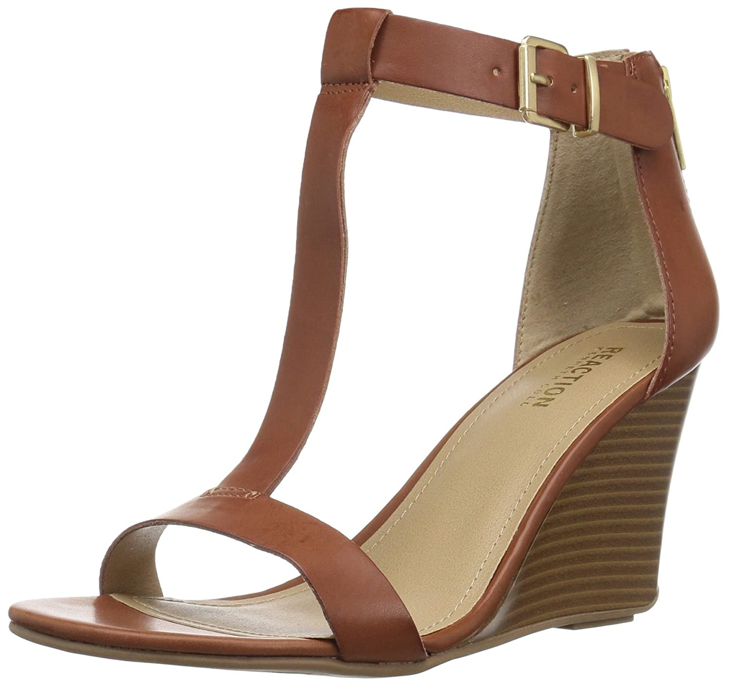 Kenneth Cole REACTION Women's 7 Ava Crave T-Strap Wedge Sandal B079Z2XYJG 10 B(M) US|Toffee