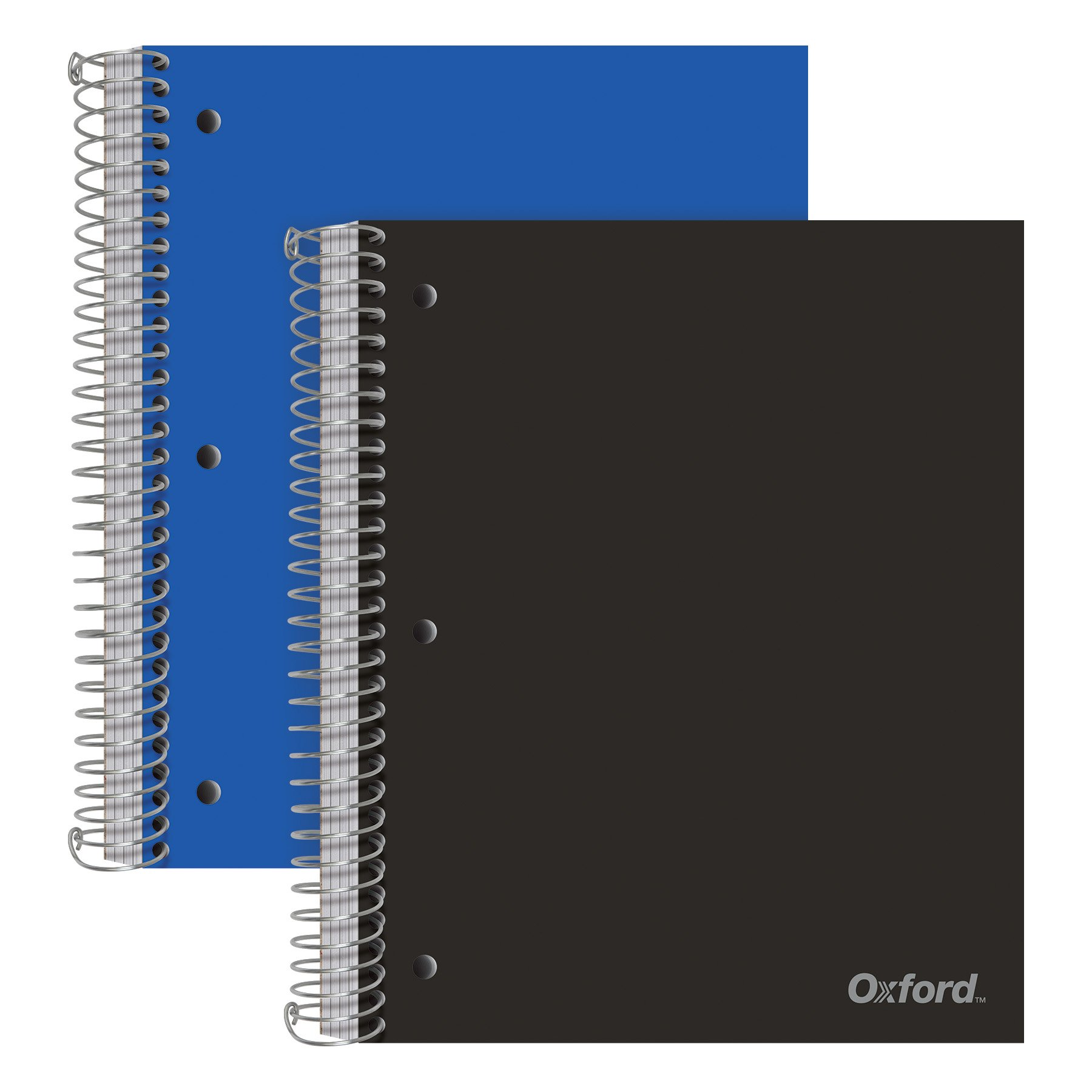 Oxford 5-Subject Poly Notebooks, 8-1/2'' x 10-1/2'', Wide Rule, Assorted Color Covers, 200 Sheets, 5 Poly Divider Pockets, 2 Pack (10387) by Oxford