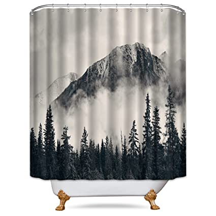 Cdcurtain Forest Shower Curtain 72x78 Inch Free Metal Hooks 12 Pack National Parks Home Decor