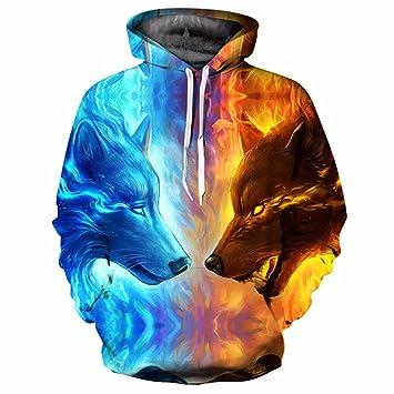 CCHD 3D Sudaderas Hombres Sudadera Hombres Lobo de Fuego Hielo Sudaderas Streetwear Primavera otoño Outwear Ropa Deportiva: Amazon.es: Deportes y aire libre