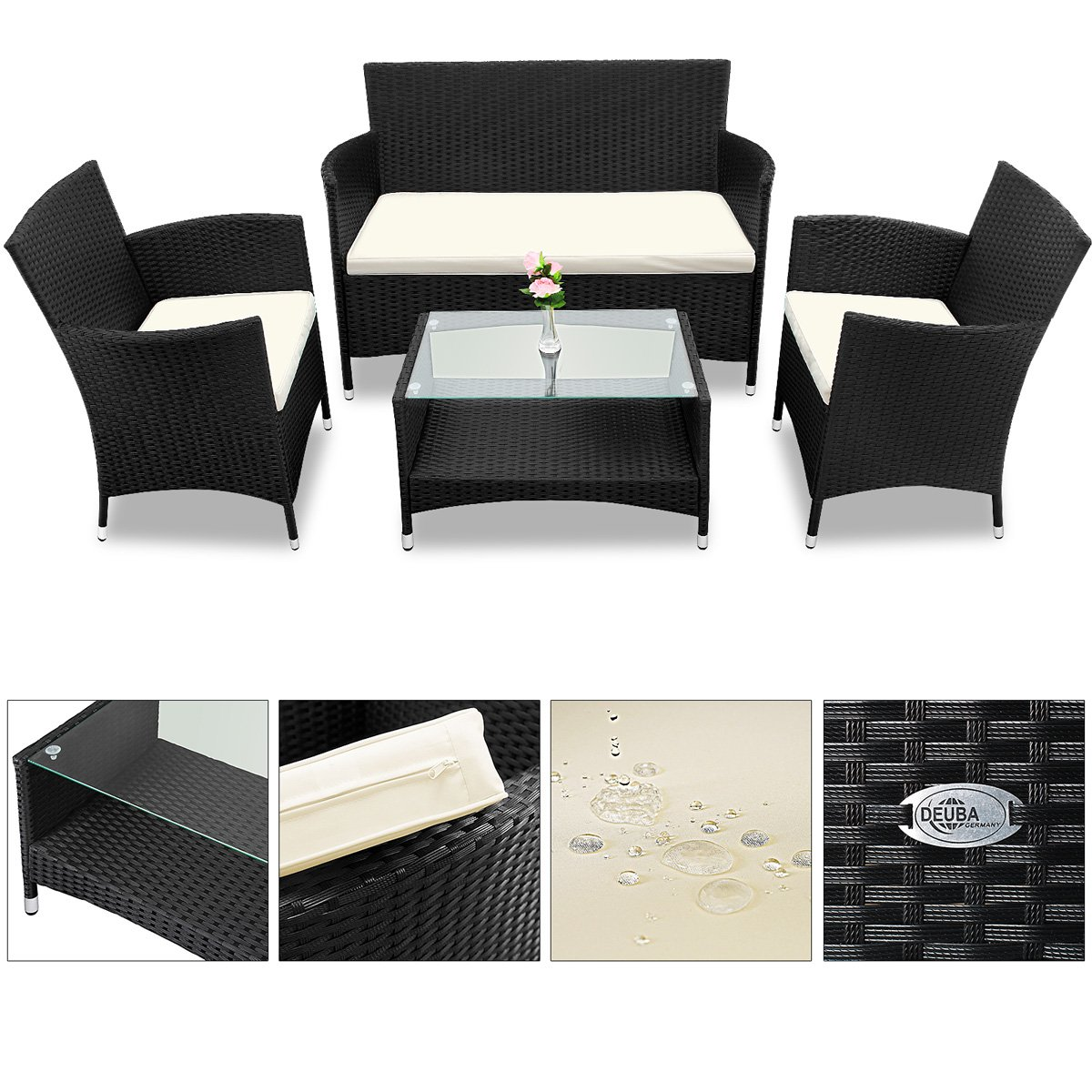 Amazon.de: Deuba® Poly Rattan 4+1 Sitzgruppe Schwarz | 7cm dicke ...