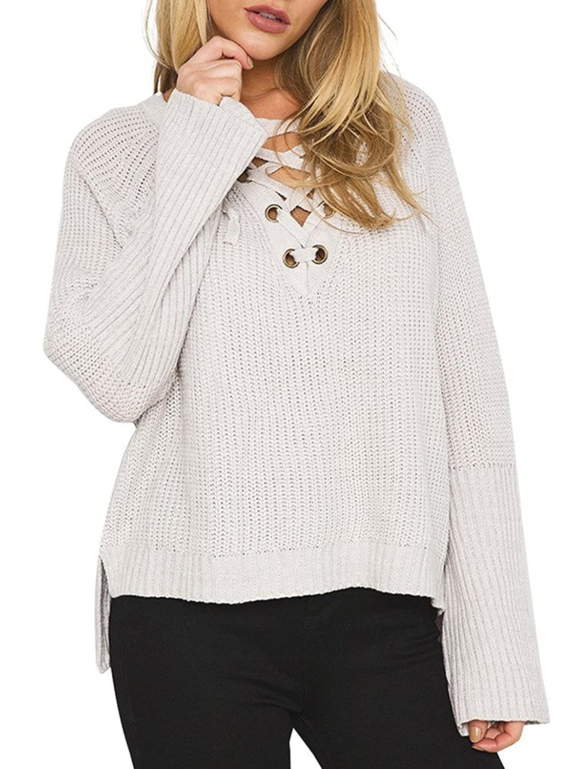 Voguegirl Women Lace Up V Neck Flare Sleeve Knitted High Low Sweater