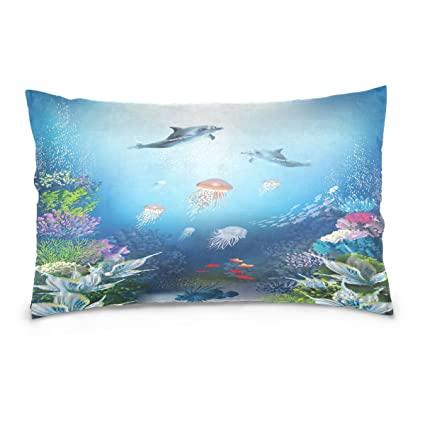 ALAZA Underwater World Dolphin and Jellyfish Cotton Lint Pillow Case,Throw Pillow Case Protector Cushion
