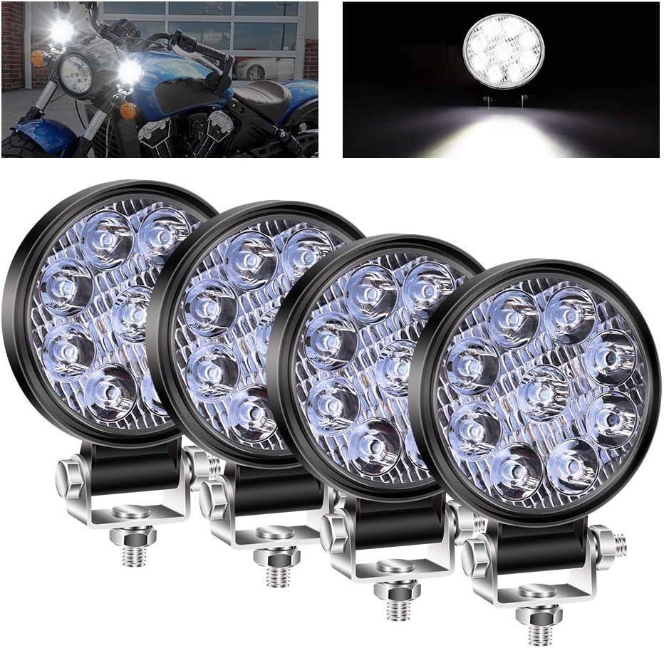 3 Inch Mini Foco Led Tractor,27W Focos de Coche LED Potentes 12V 24V Faros Trabajo LED Adicionales Coche Luz de Niebla luz Auxiliar Moto 1800LM para Moto Offroad Tractor SUV Camión Barco 4pcs